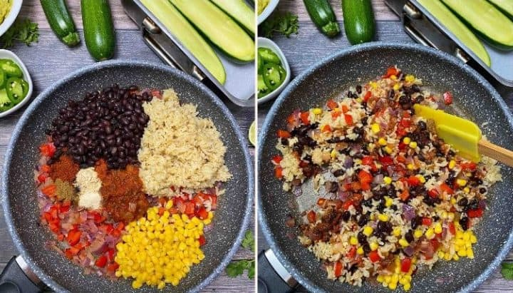 skillet with rice, corn, black beans, onion, pepper, and seasoning