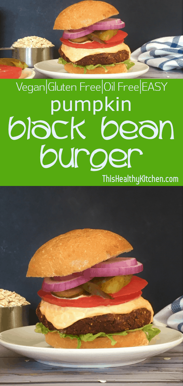 pumpkin black bean burger pin