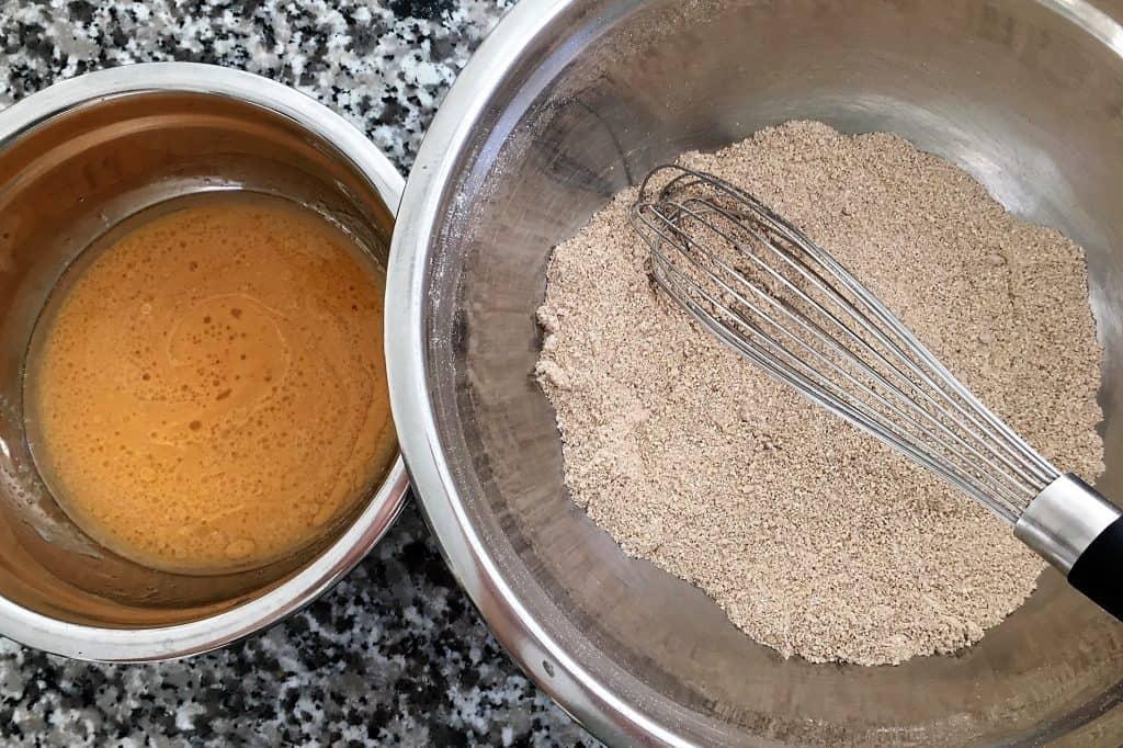 pumpkin spice donut holes batter and flour prep