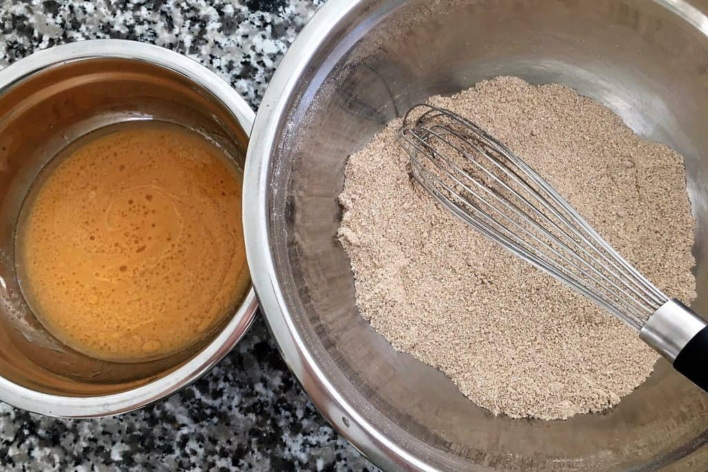 pumpkin spice donut holes batter and flour prep