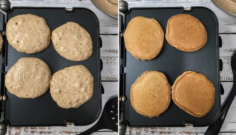 pumpkin spice pancakes cooking on griddle