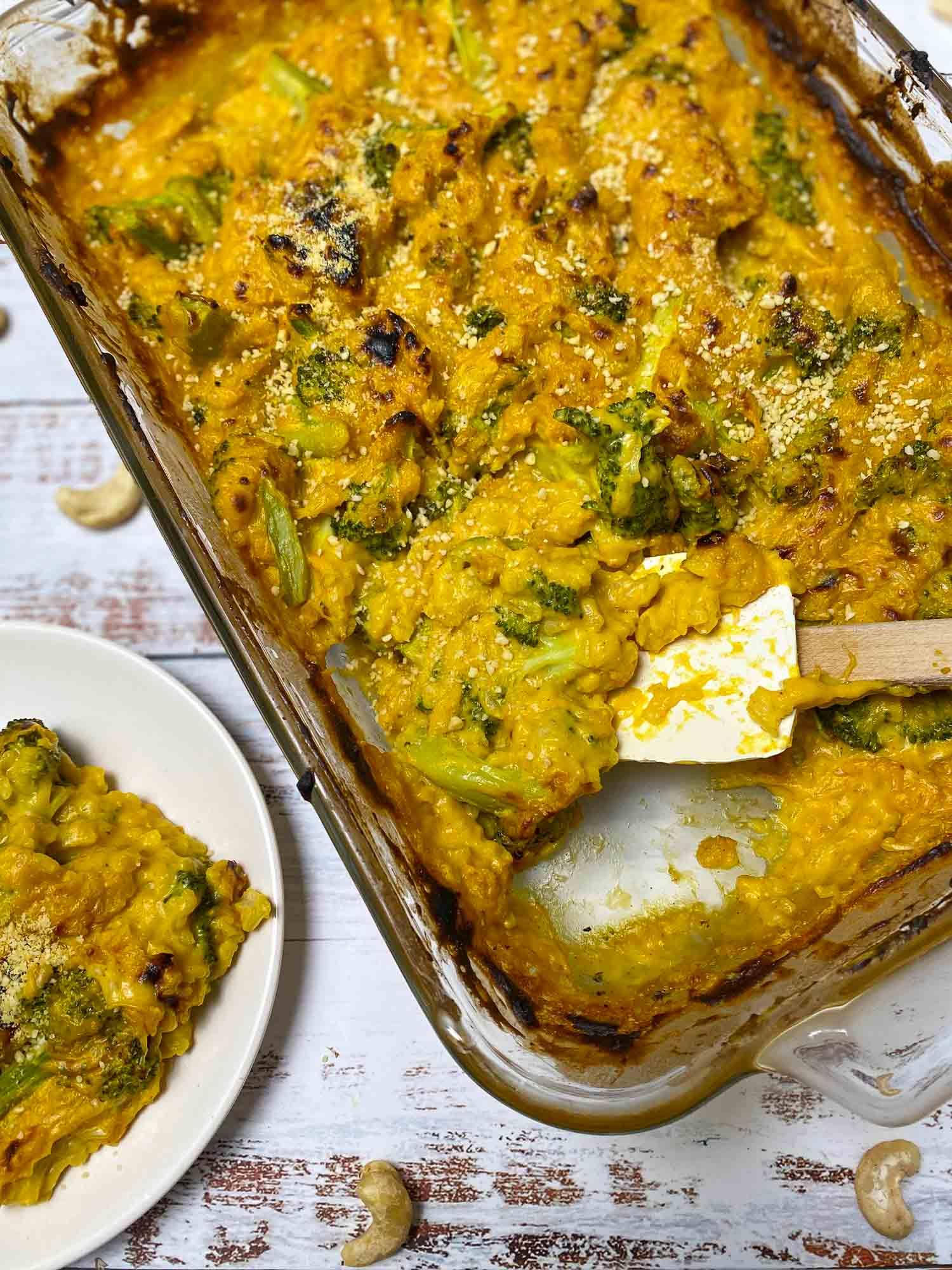 tray of broccoli rice casserole with spatula inside