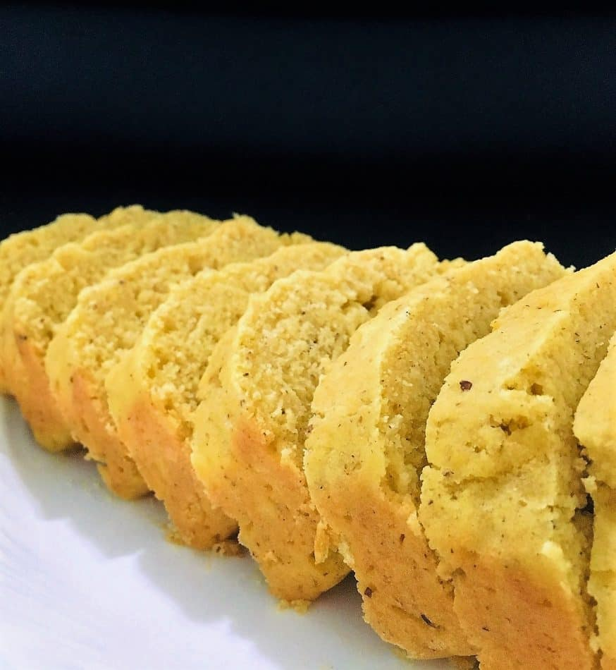 easy vegan cornbread sliced in platter