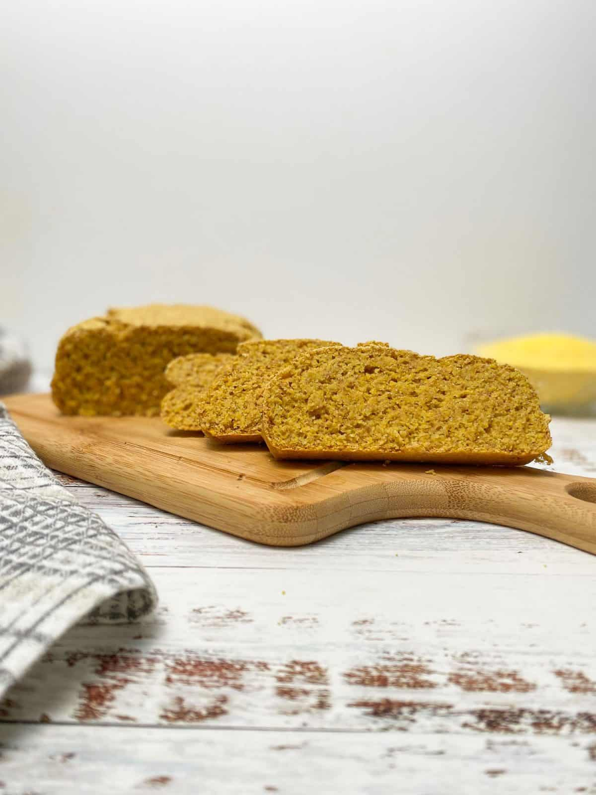 cornbread loaf on cutting board