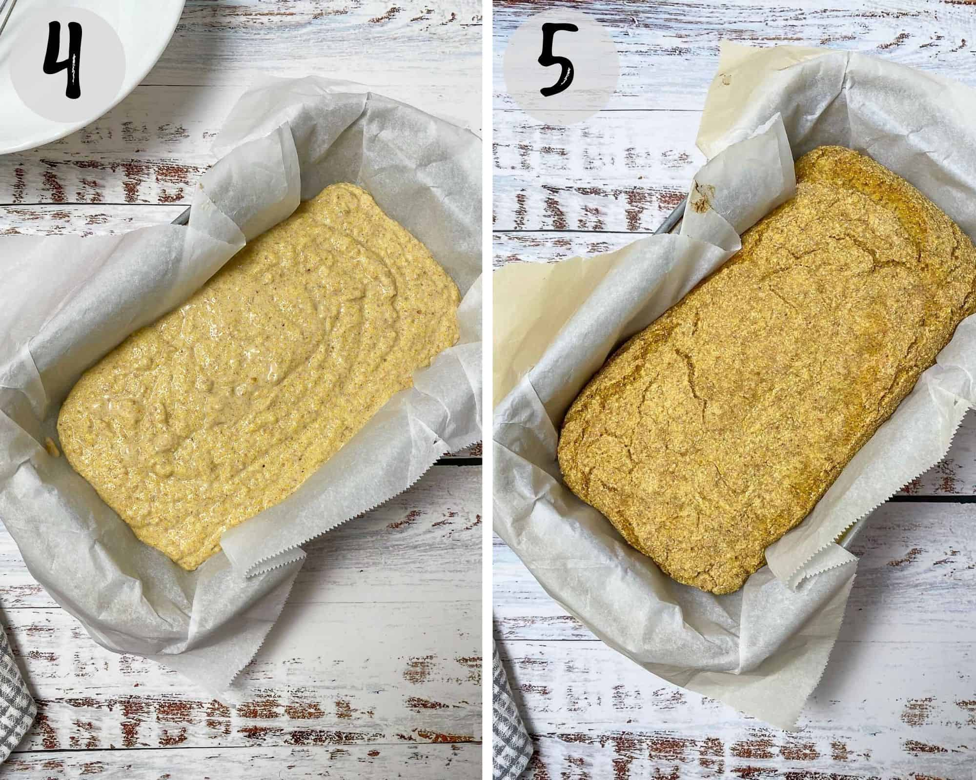cornbread batter in loaf pan before and after baking