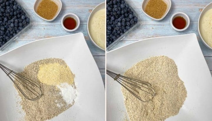 bowl filled with flour and baking powder to make pancakes