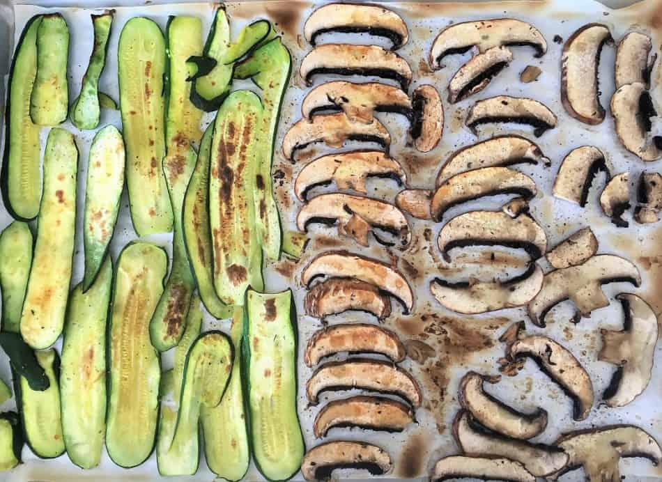 Grilled zucchini and mushrooms