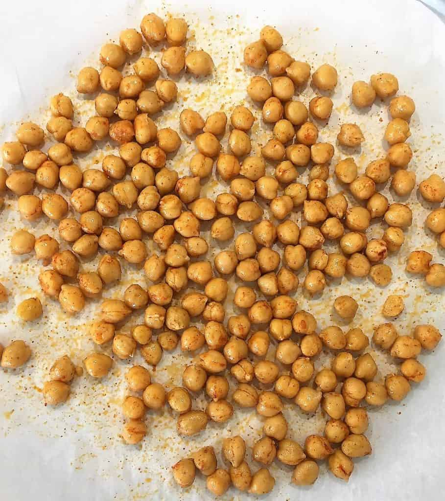 Chickpeas on baking sheet