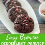 Vegan peppermint brownie cookies PIN with text overlay.