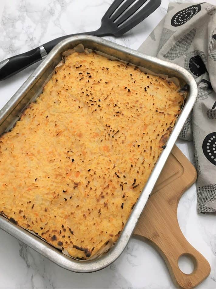Chicken Shepherd's Pie tray on cutting board