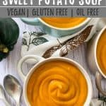 Spiced Sweet Potato Soup PIN with text overlay.