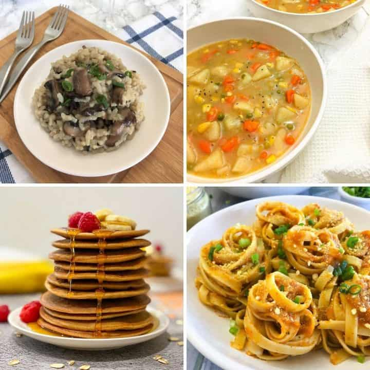 Collage of 4 food images: rice, soup, pancakes, pasta.
