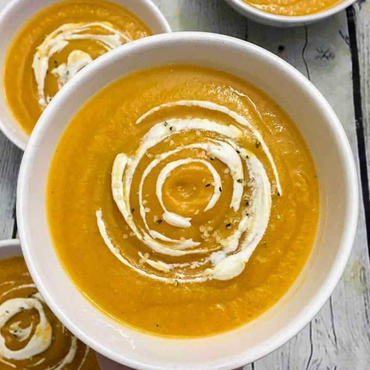 Spiced sweet potato soup in bowl