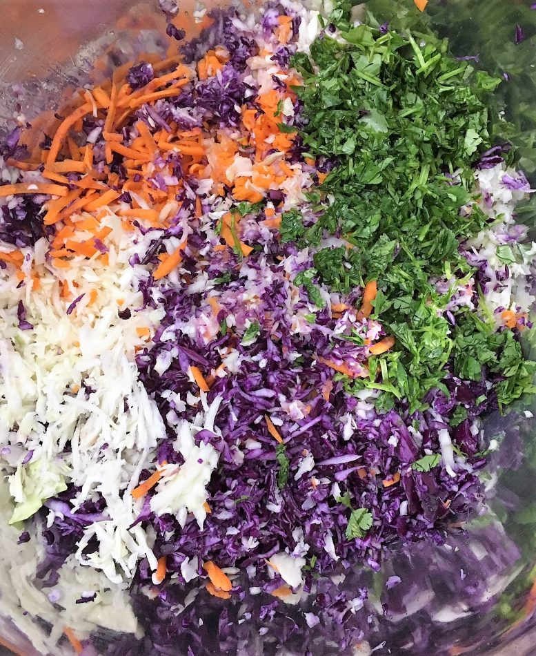 Coleslaw Salad with Thai Peanut Dressing prep