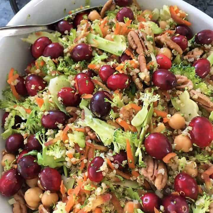 Cranberry Broccoli Salad in serving dish