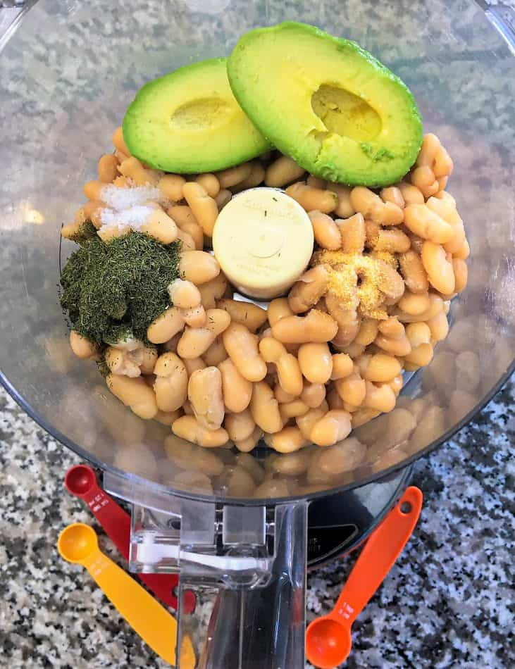 white bean dip ingredients in food processor