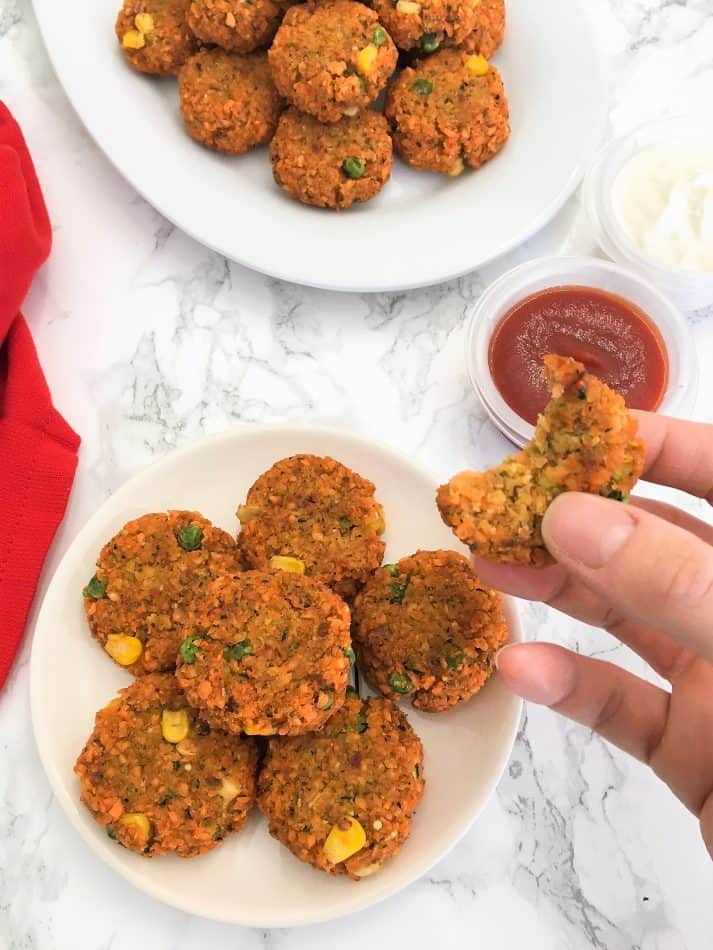 Lentil Veggie Nuggets with bite taken