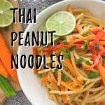 Thai peanut noodles PIN with text overlay.