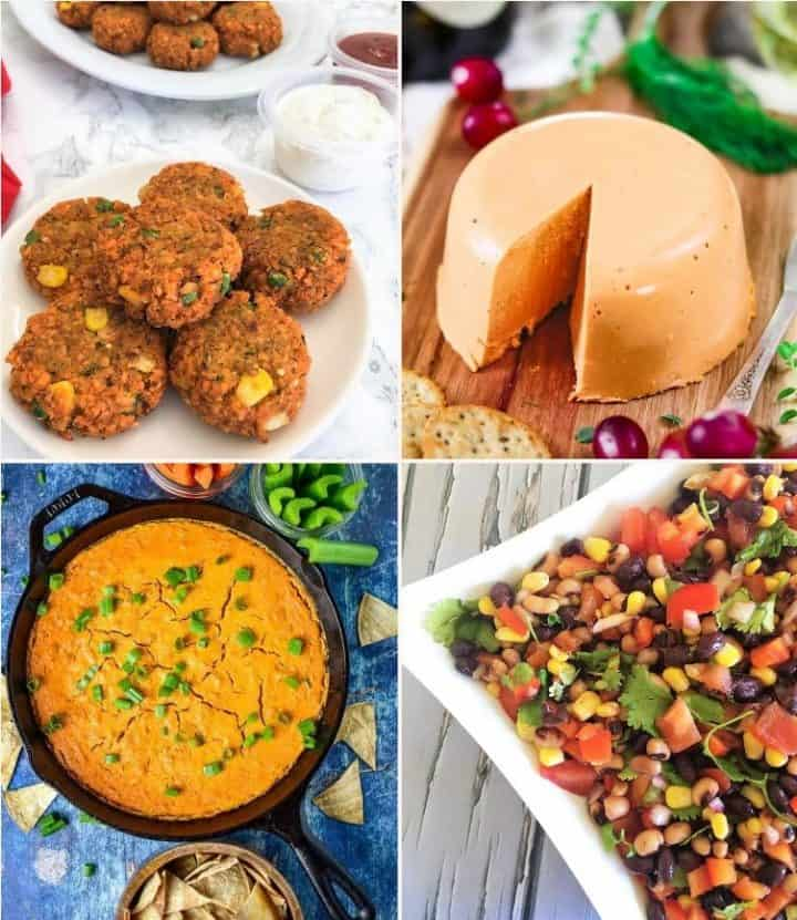vegan appetizers in a collage: nuggets, cheddar cheese, buffalo dip, bean salad