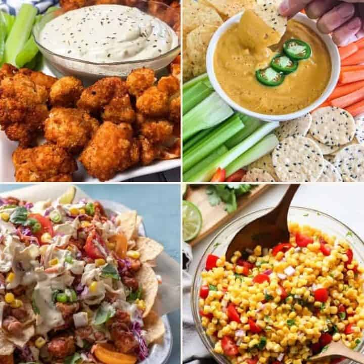 collage of vegan appetizers: buffalo cauliflower, queso, nachos, corn salsa