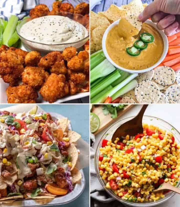 collage of vegan appetizers: buffalo cauliflower, queso, nachos, corn salsa