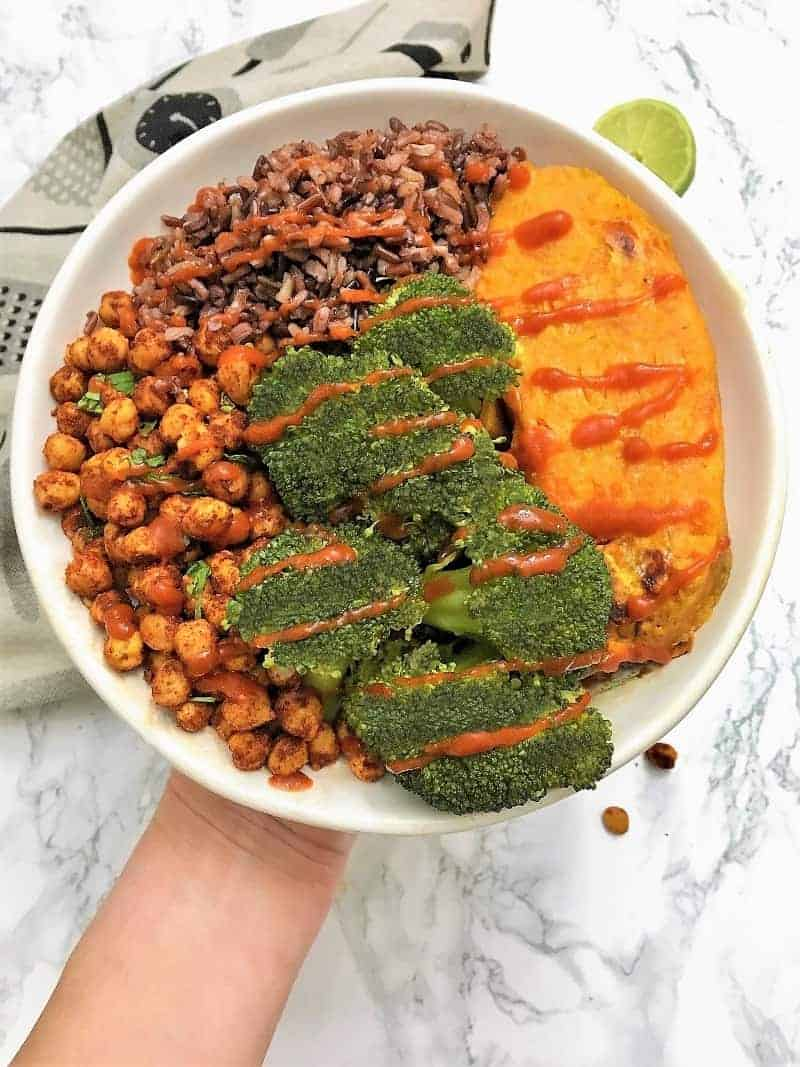 chili lime chickpeas in buddha bowl with broccoli, sweet potato and wild rice blend