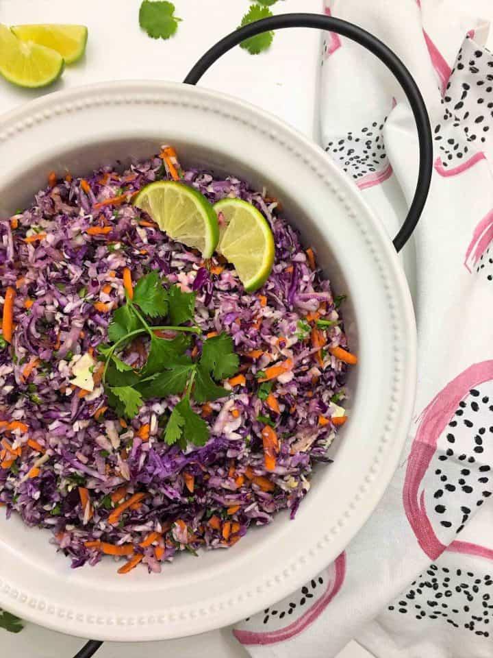 Coleslaw Salad with Thai Peanut Dressing close up