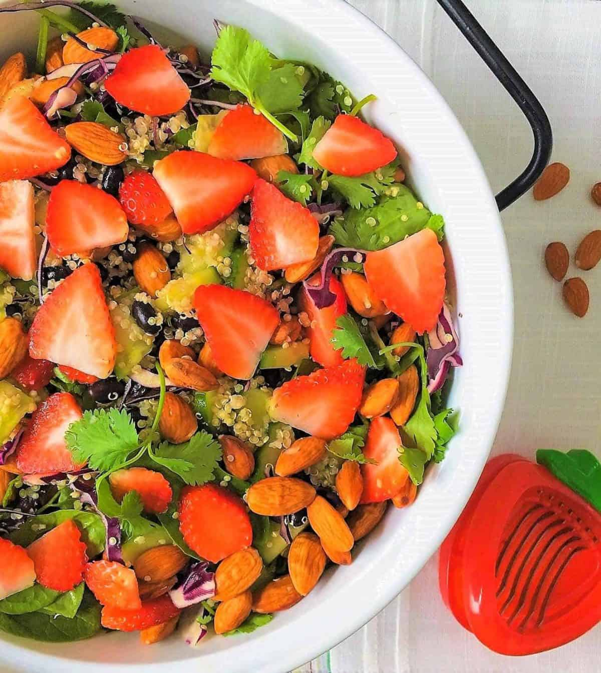 Strawberry Spinach Salad in serving bowl