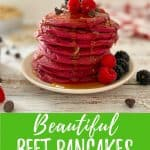 beet pancakes pin with text overlay.