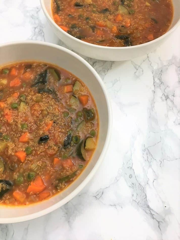 Instant Pot Vegetable Soup with quinoa in bowls