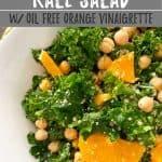 orange kale salad PIN with text overlay.