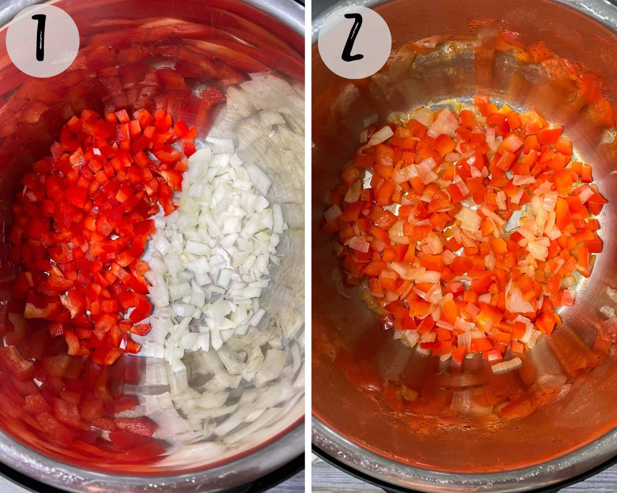 peppers and onions being sauteed in instant pot