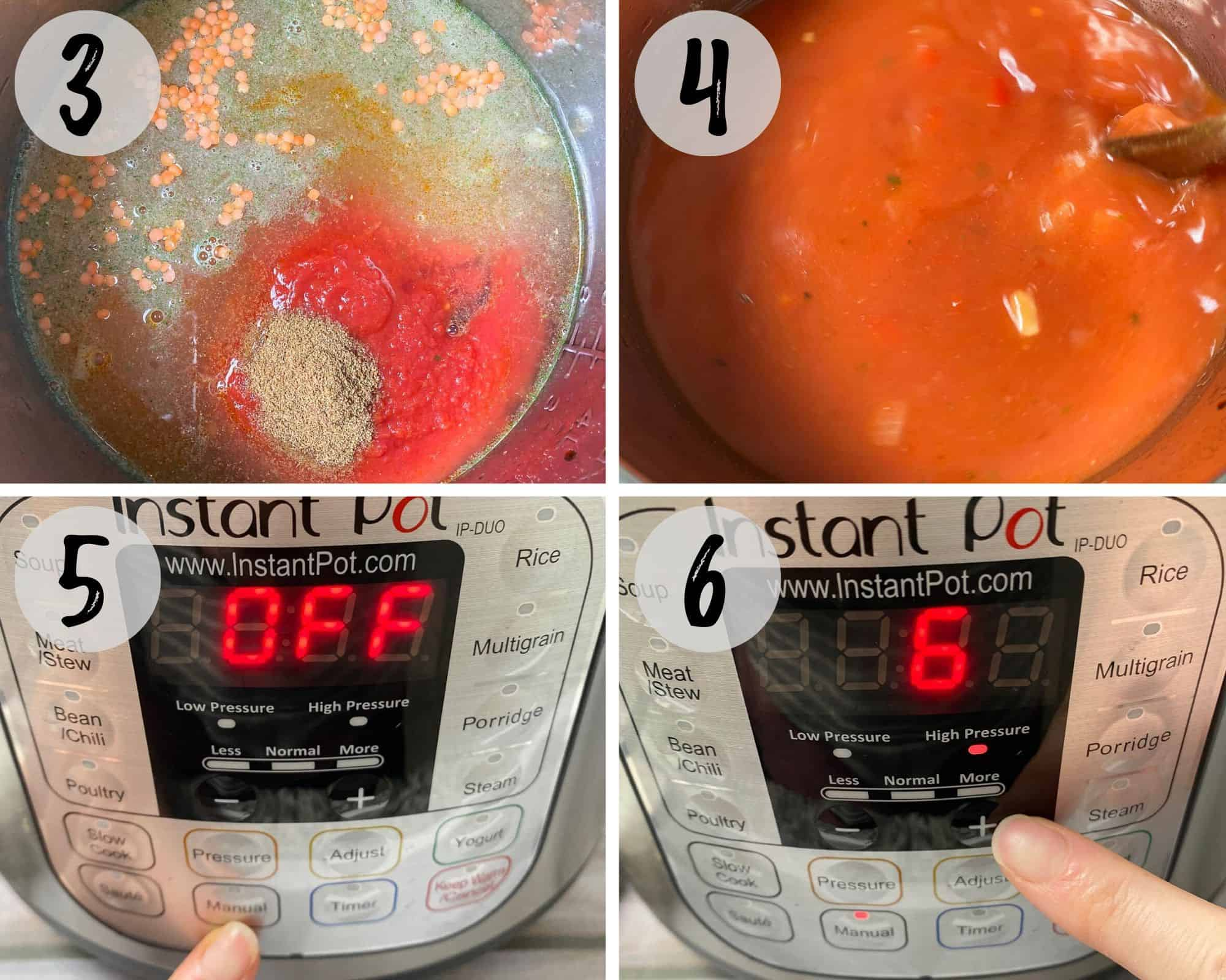 hand setting the instant pot to manual pressure for 6 minutes