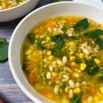 big bowl of soup with barley, beans, spinach, carrots, corn