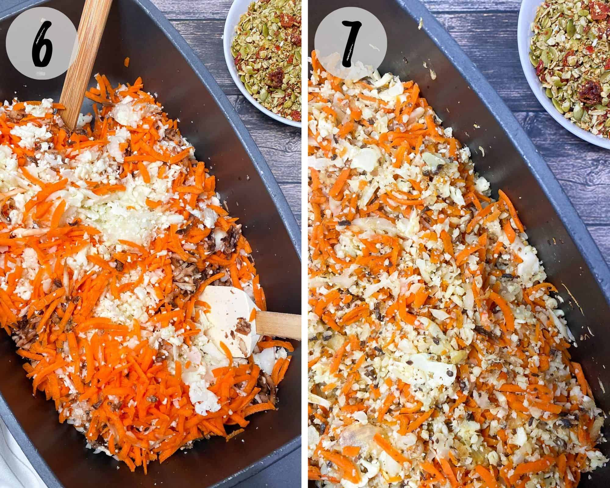 deep skillet filled with shredded carrot, cauliflower, mushrooms and onion