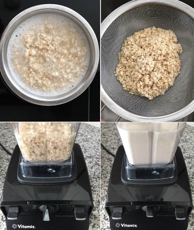 oat milk prep steps collage