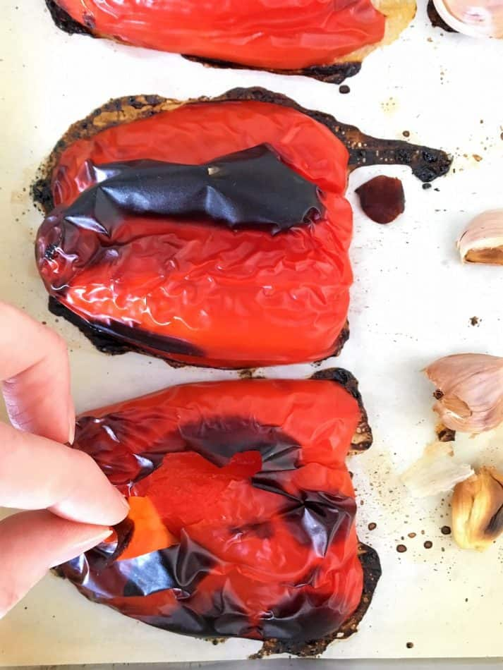 peeling roasted red peppers