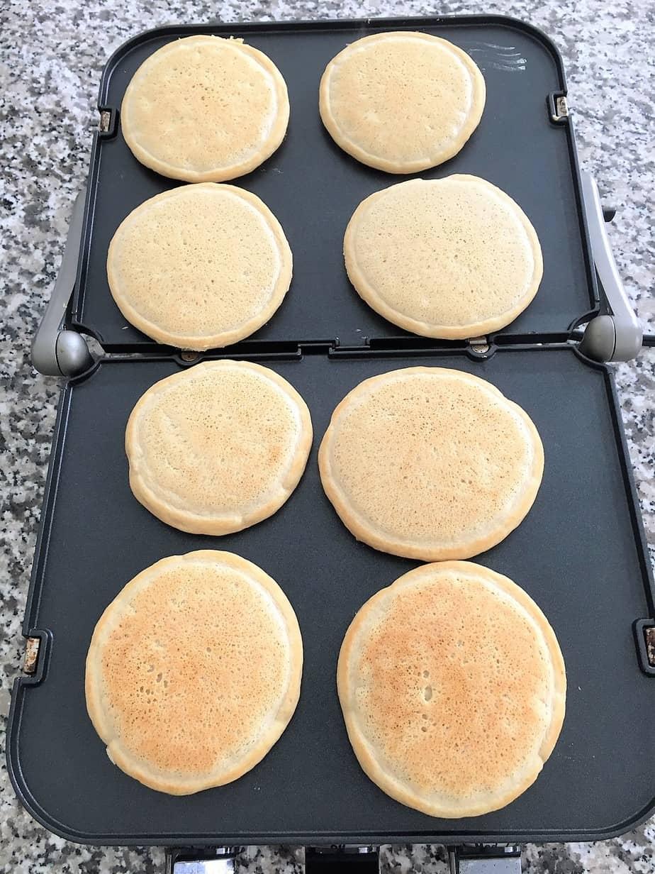 vegan pancakes on griddle