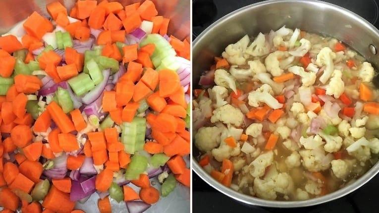vegetables in pot cooking