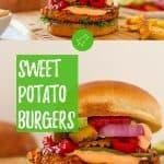 Sweet potato burgers PIN with text overlay.