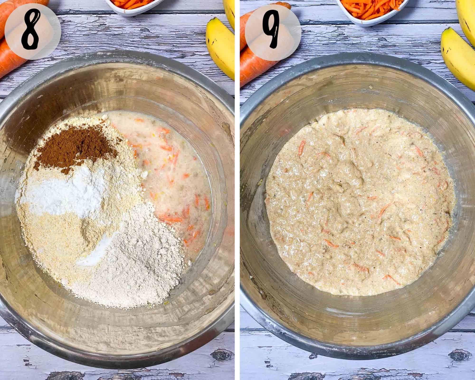 banana carrot muffin batter in large mixing bowl