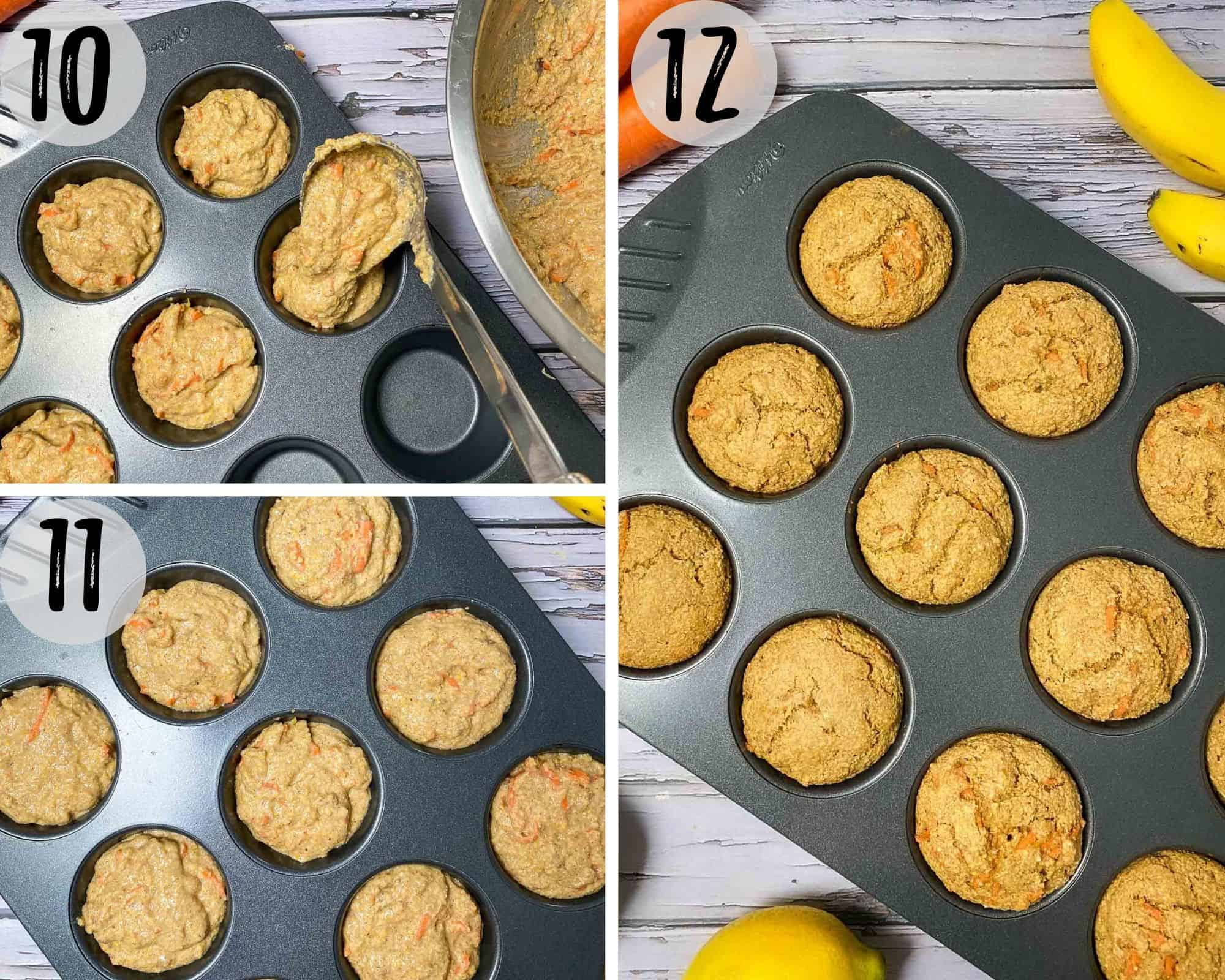 banana carrots muffins in muffin pan before and after baking