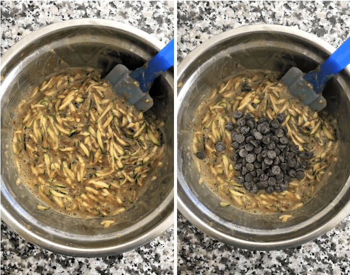 zucchini bread ingredients in mixing bowl
