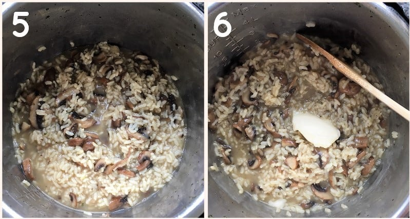 Mushroom Risotto cooking in instant pot