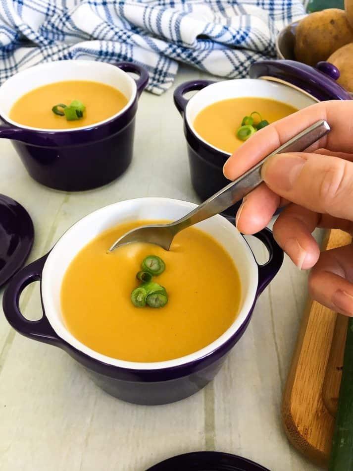potato leek soup with spoon