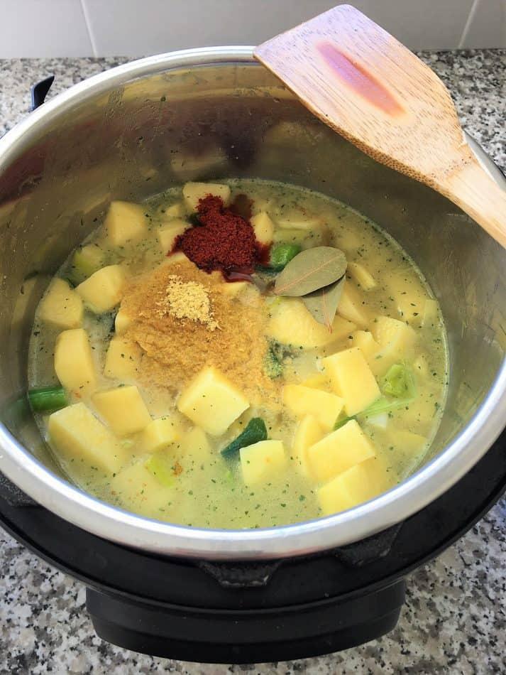 potato leek soup in instant pot before cooking