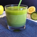 Sour Apple Smoothie in cup with straw