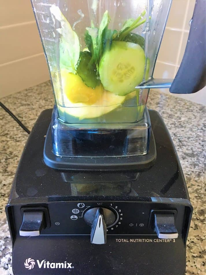 apple, cucumber and spinach in blender