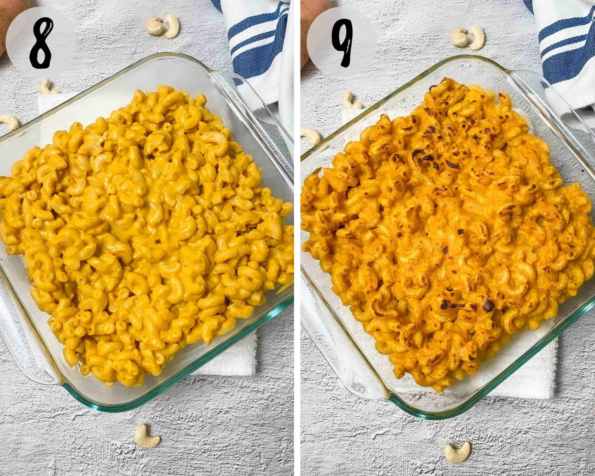 sweet potao mac and cheese in baking dish before and after broiling