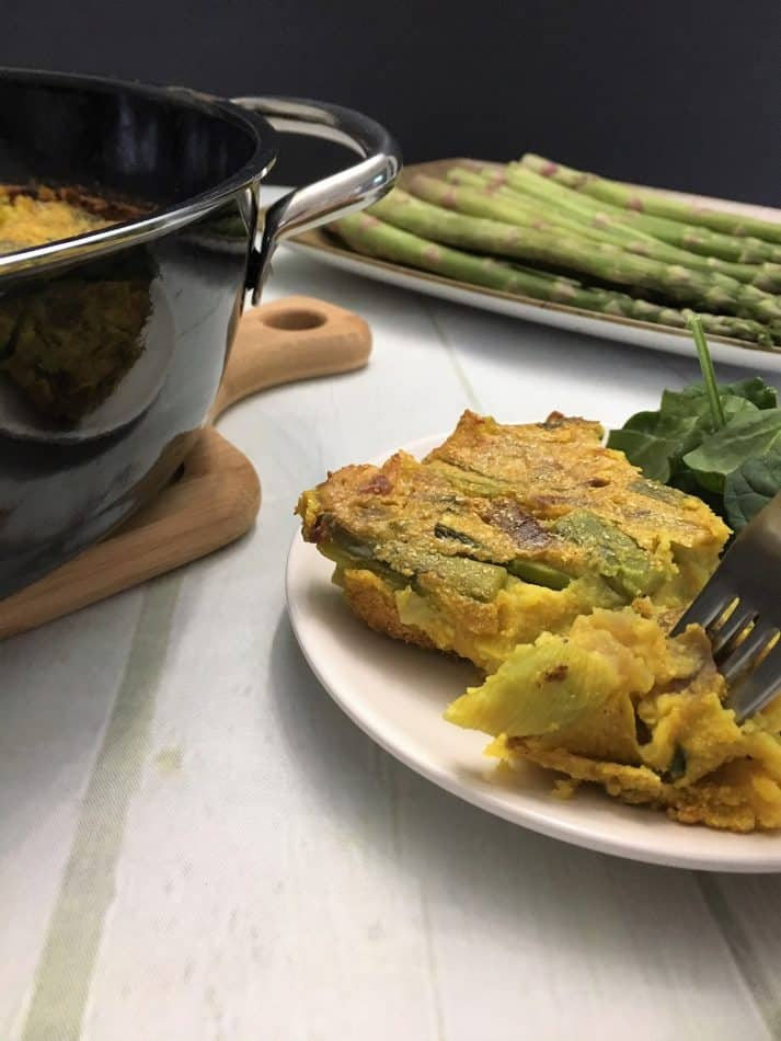 wedge of asparagus frittata on plate with asparagus in background